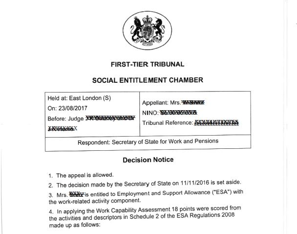 Tribunal Decision Employment and Supporrt Allowance