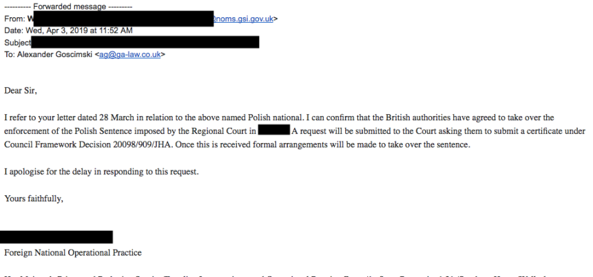 transfer of sentence from poland to the uk